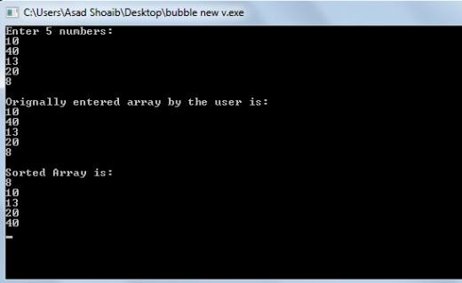 Bubble Sort C++ example